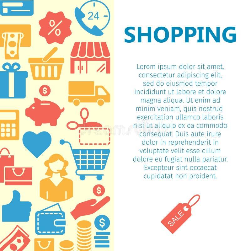 Línea bandera de las compras de los iconos stock de ilustración