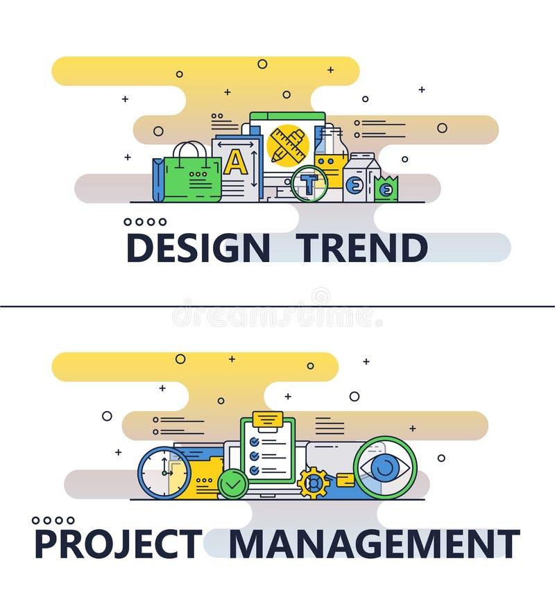 Línea bandera del vector del cartel de la tendencia del diseño del arte libre illustration