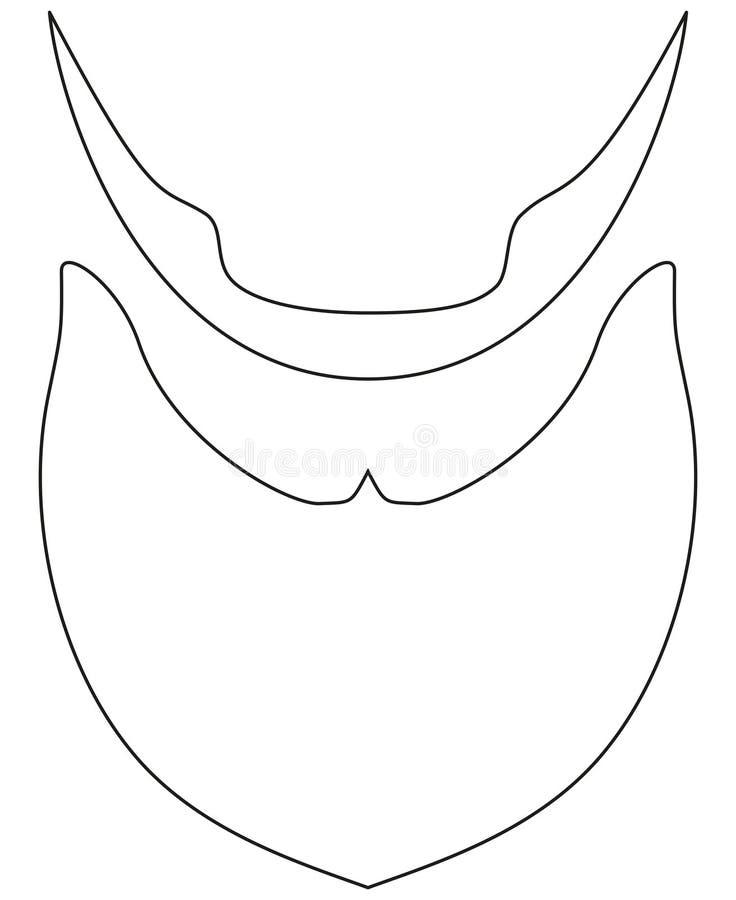 Línea barba del cartel del arte, castor, sistema barbudo del icono del día del papá del padre del hombre libre illustration