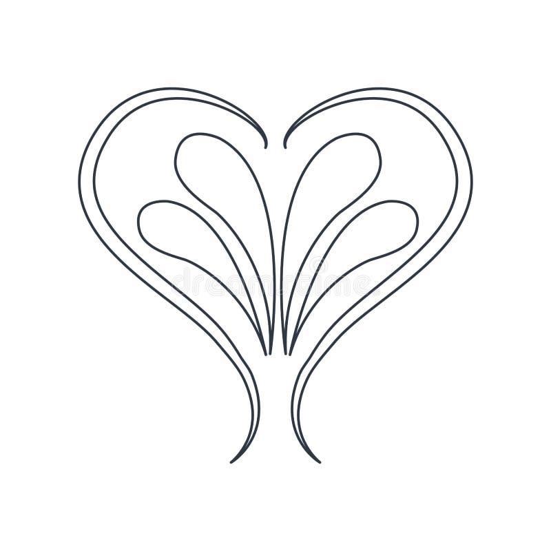 Línea barroca del estilo del ornamento del vintage del corazón del remolino stock de ilustración