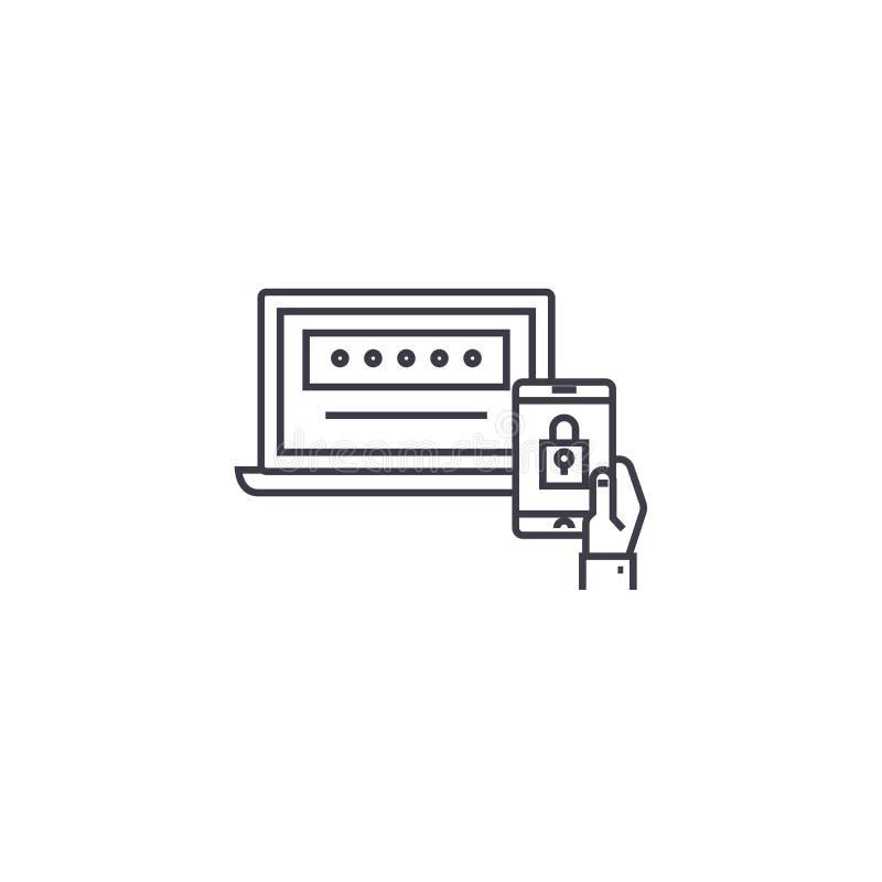 Línea bifactorial icono, muestra, ejemplo del vector de la autentificación en el fondo, movimientos editable libre illustration