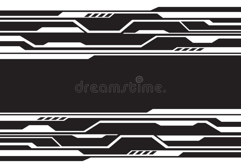 Línea blanca abstracta tecnología futurista del circuito en vector moderno del fondo del diseño negro ilustración del vector