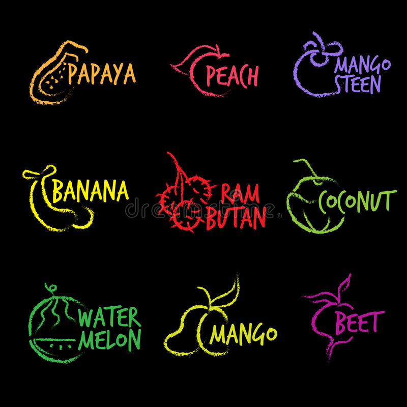 Línea blanca de la mano del vector del logotipo de los símbolos de la fruta libre illustration