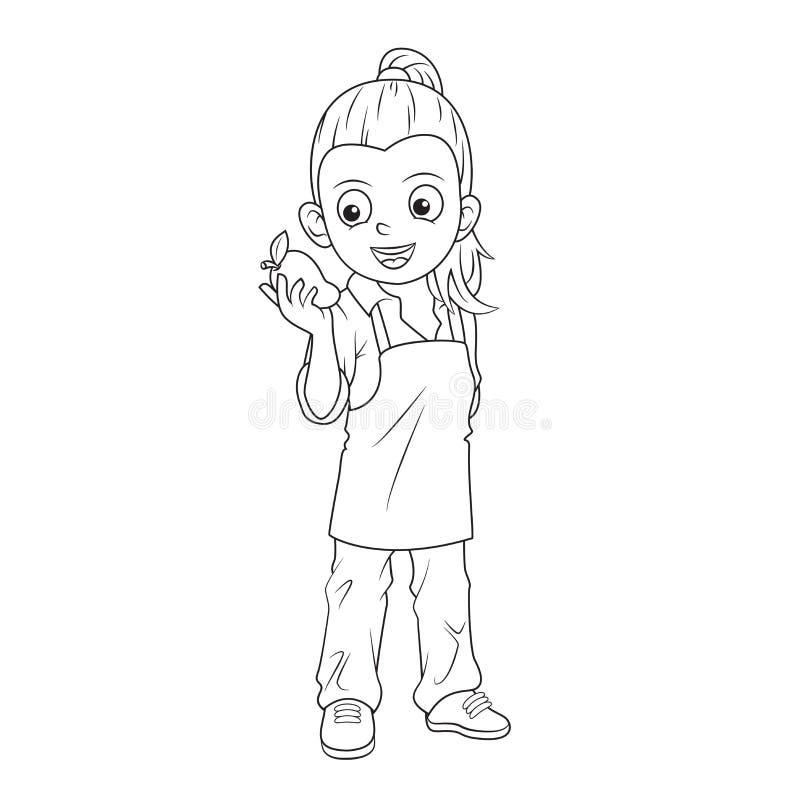 Línea blanco y negro granjero de la historieta de la muchacha del arte que sostiene un mango ilustración del vector