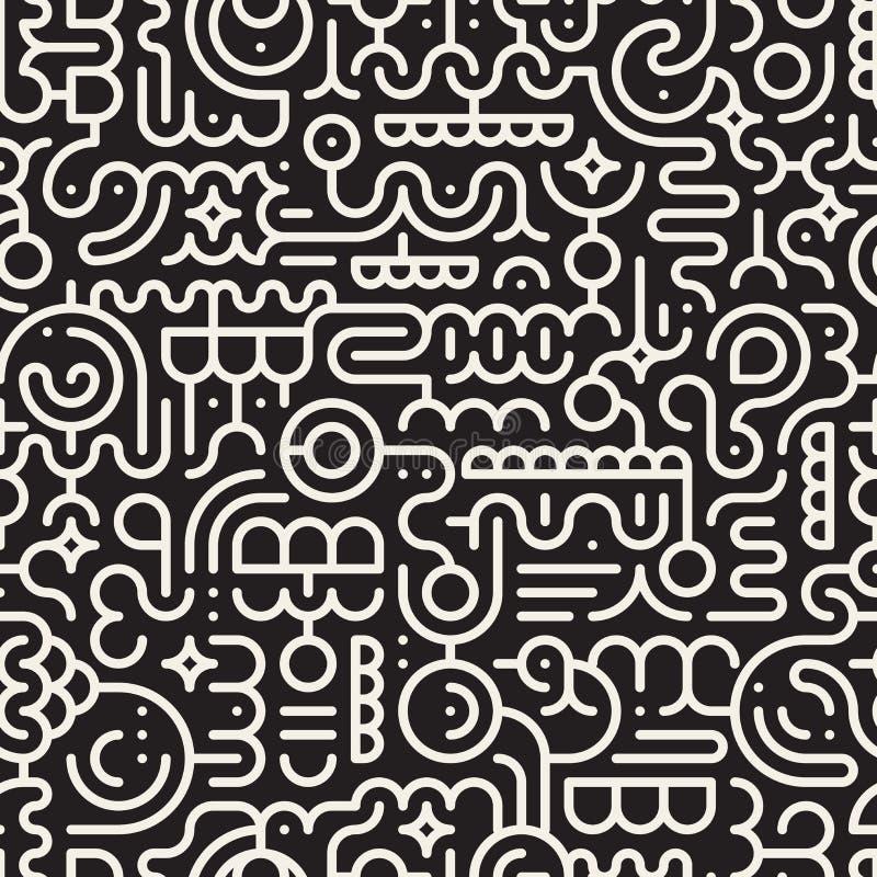 Línea blanco y negro inconsútil Art Geometric Doodle Pattern del vector stock de ilustración
