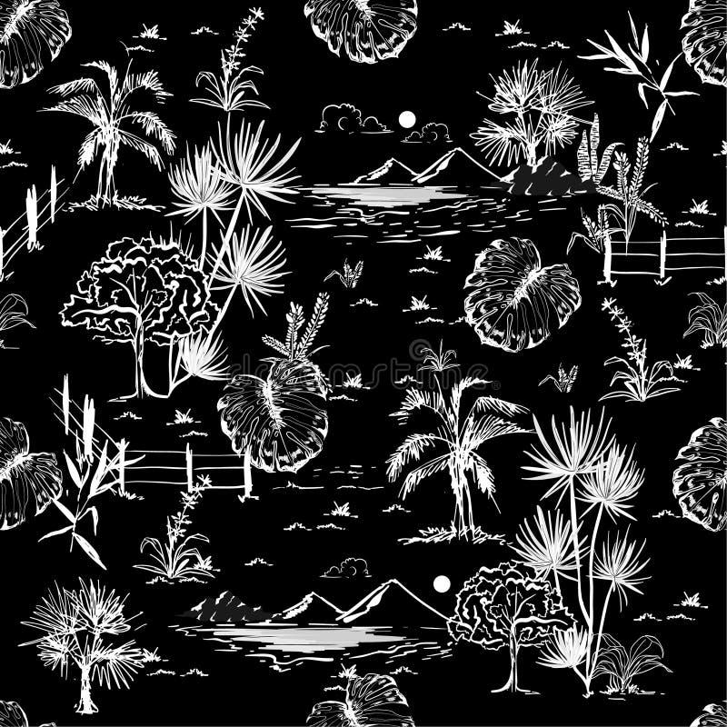 Línea blanco y negro paisaje o lanscap oscuro del bosquejo del dibujo de la mano stock de ilustración