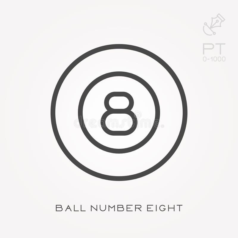 Línea bola número ocho del icono stock de ilustración