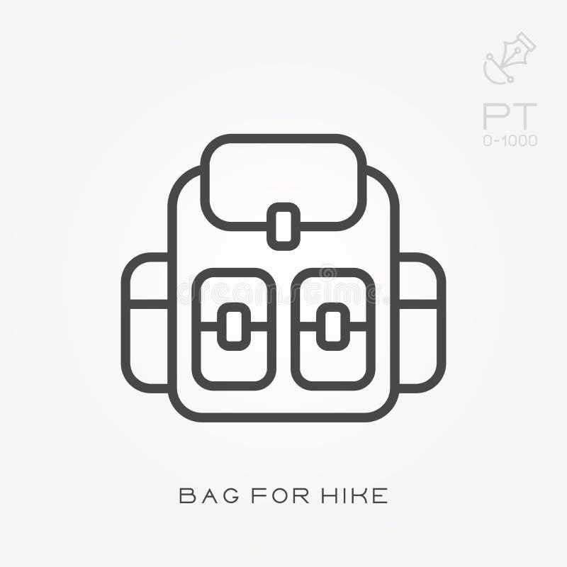 L?nea bolso del icono para el alza ilustración del vector
