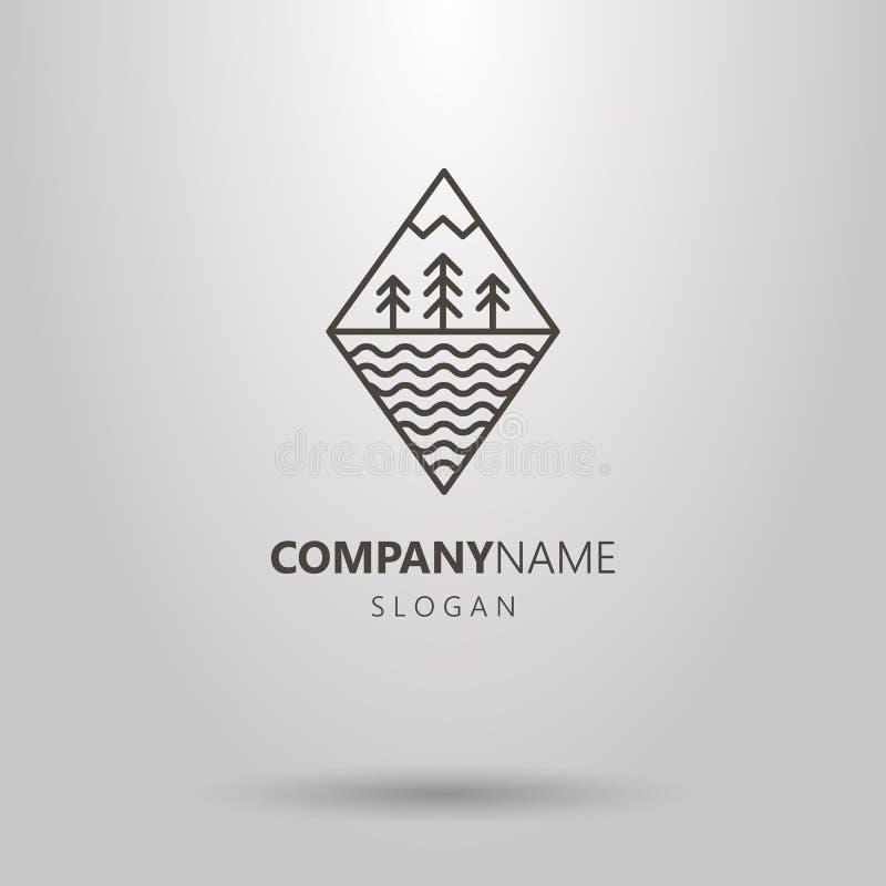 Línea bosque del Rhombus del arte en el logotipo del soporte y del agua stock de ilustración