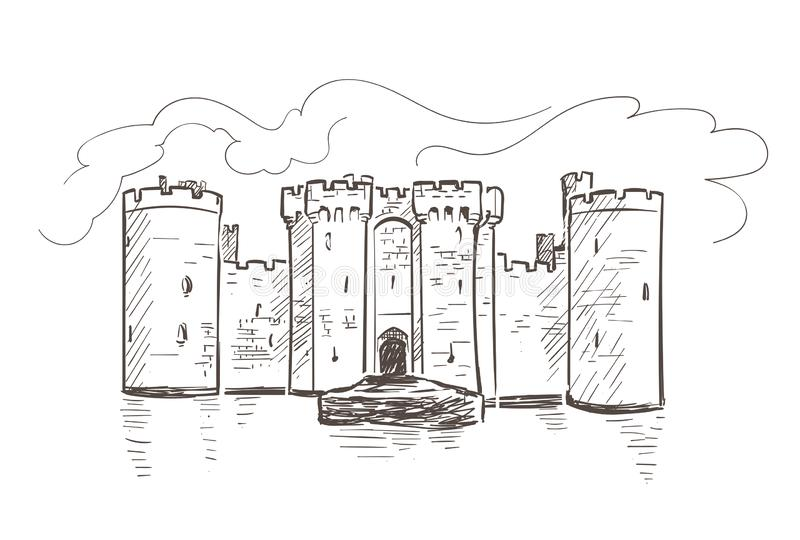 Línea bosquejo aislado del vector del castillo de Bodiam Francia del arte libre illustration
