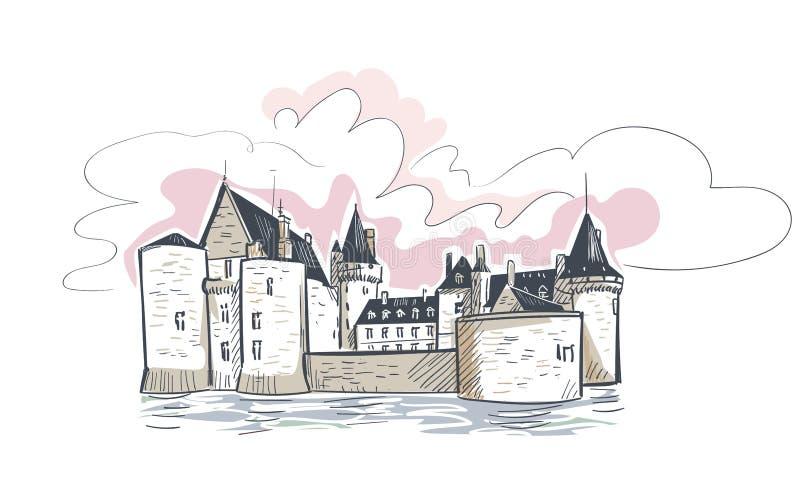 Línea bosquejo aislado del vector del castillo de Francia Sully Sur del arte ilustración del vector