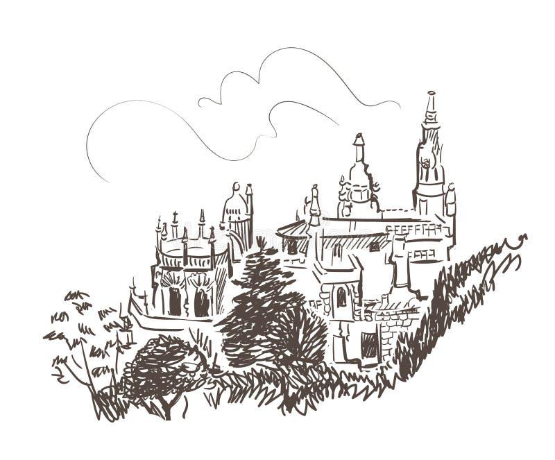 Línea bosquejo aislado del vector del castillo de Sintra Portugal del arte ilustración del vector