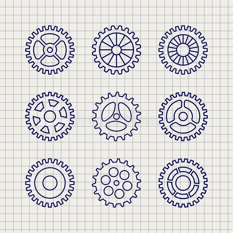 Línea bosquejo determinado del icono de los engranajes libre illustration