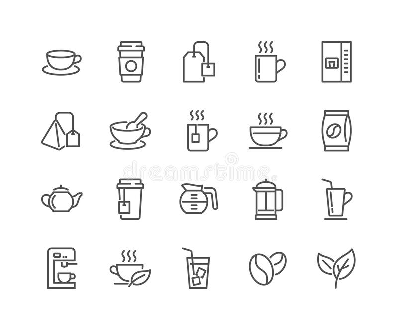 Línea café e iconos del té stock de ilustración