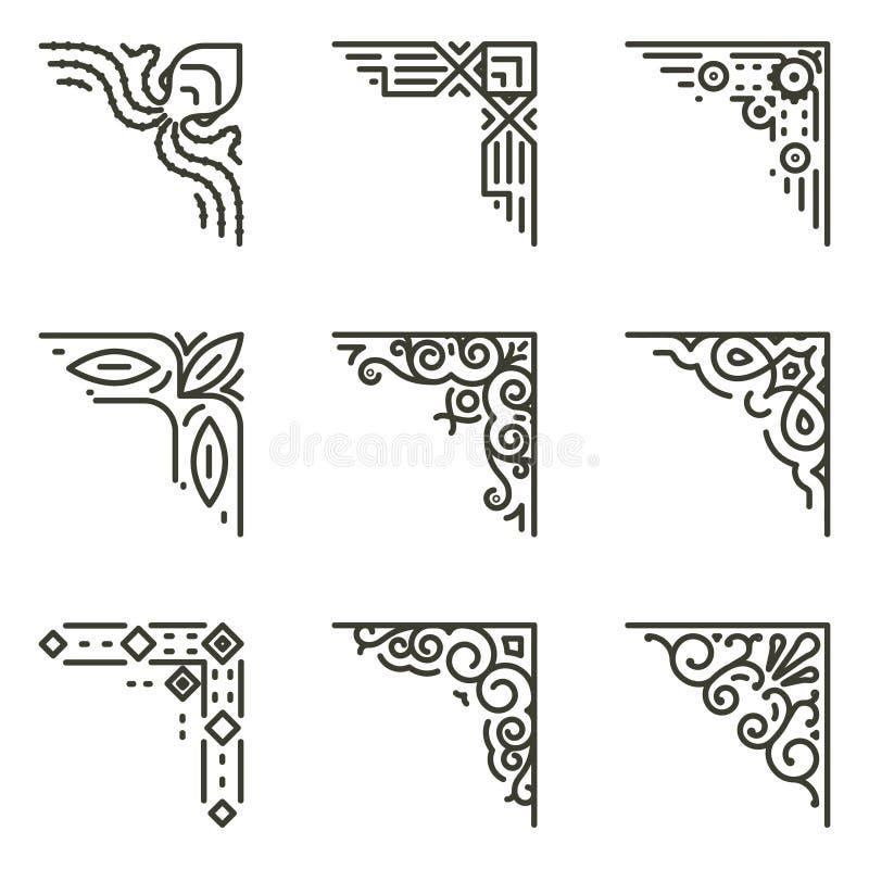 Línea caligráfica esquinas del vector para los marcos del vintage stock de ilustración