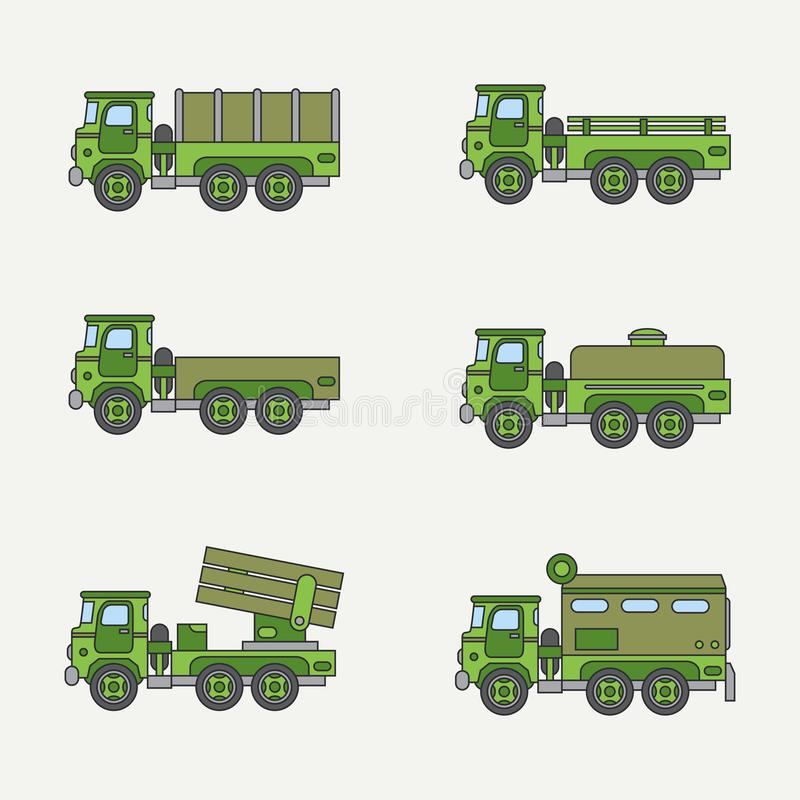 Línea camión de ejército diesel del color del vector del icono de servicio del cuerpo abierto determinado plano del personal Vehí ilustración del vector
