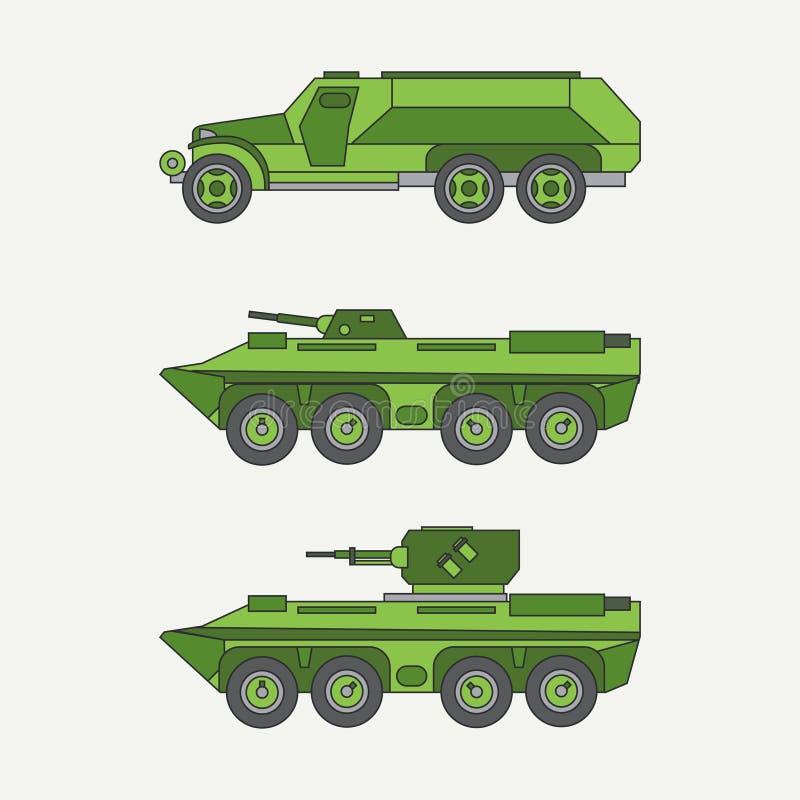 Línea camión de ejército diesel del color del vector del icono de servicio del cuerpo abierto determinado plano del personal Vehí stock de ilustración
