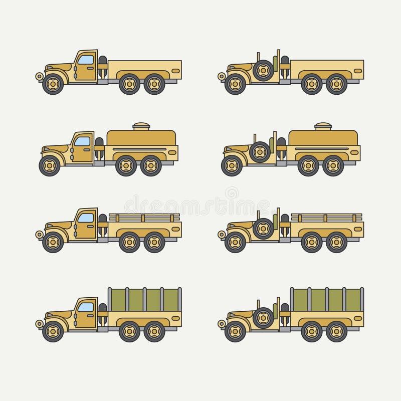 Línea camión de ejército diesel del color del vector del icono de servicio del cuerpo abierto determinado plano del personal Vehí libre illustration