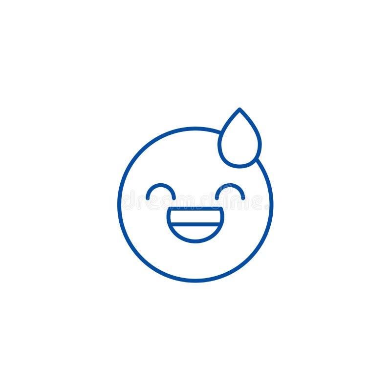Línea cansada concepto del emoji del icono Símbolo plano cansado del vector del emoji, muestra, ejemplo del esquema libre illustration