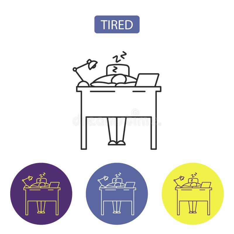 Línea cansada icono libre illustration