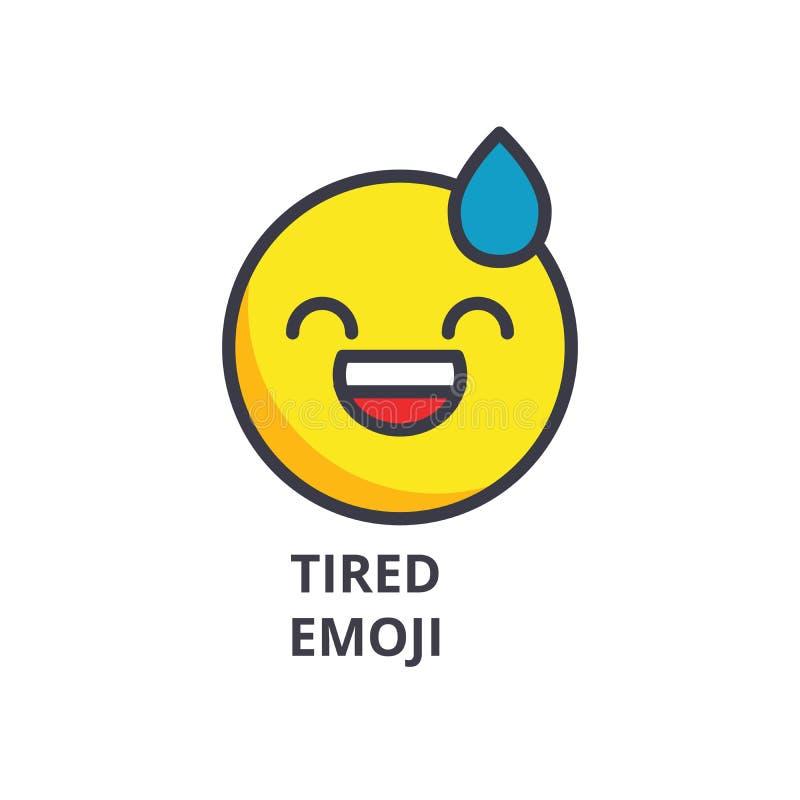 Línea cansada icono, muestra, ejemplo del vector del emoji en el fondo, movimientos editable ilustración del vector