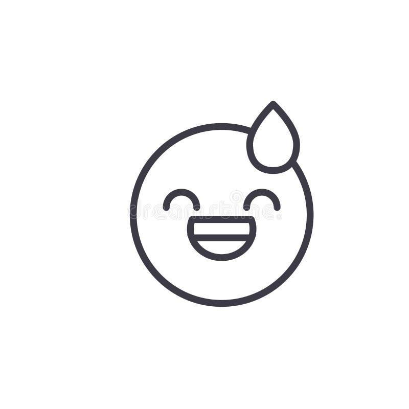 Línea cansada vector editable, icono del concepto de Emoji del concepto Ejemplo linear de la emoción del concepto cansado de Emoj libre illustration