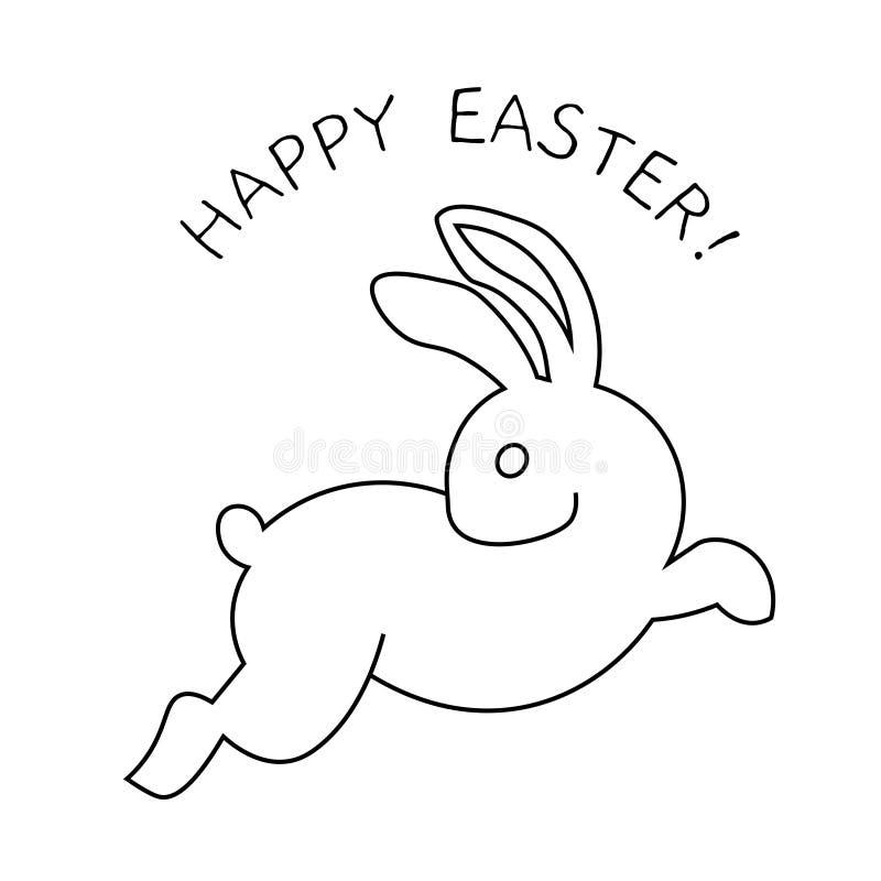 Línea cartel blanco y negro del icono del conejito del conejo del arte ilustración del vector