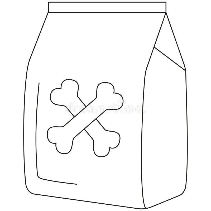 Línea cartel seco blanco y negro del icono del bolso de la comida de perro del arte libre illustration