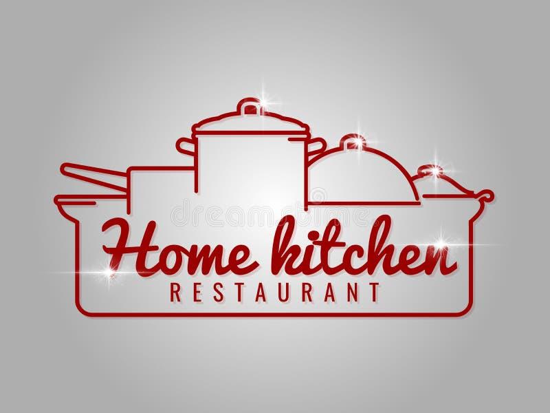 Línea casera logotipo del restaurante de la cocina ilustración del vector