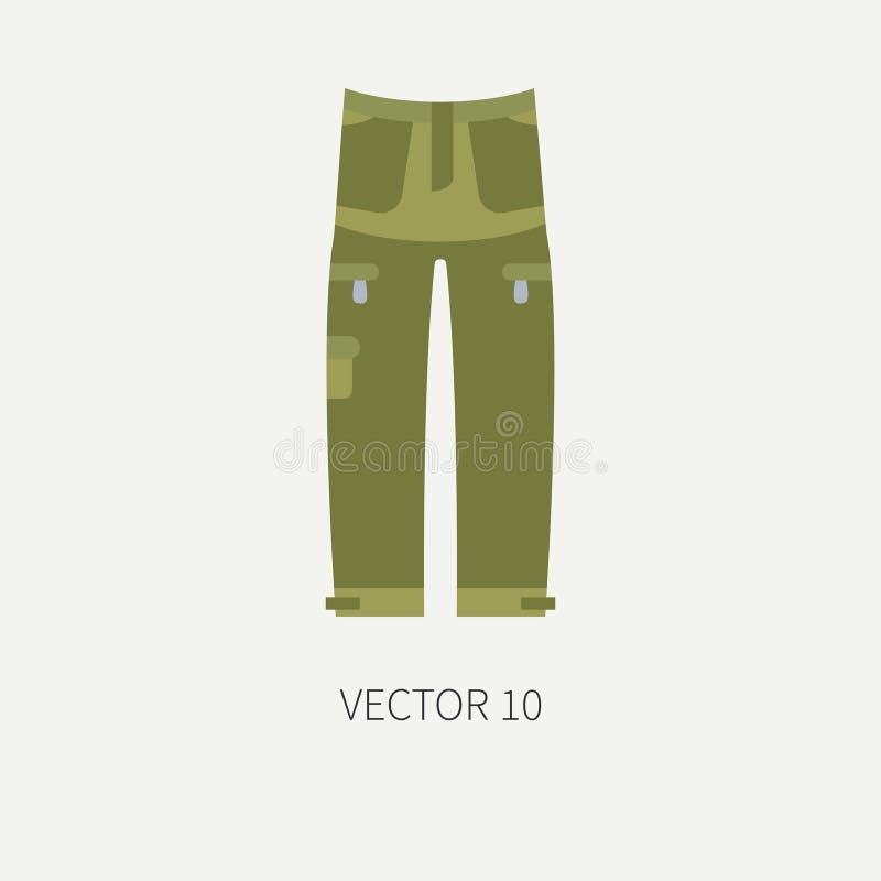 Línea caza del vector del color de la teja y pantalones de color caqui del icono que acampan Equipo del cazador, armamento Estilo libre illustration