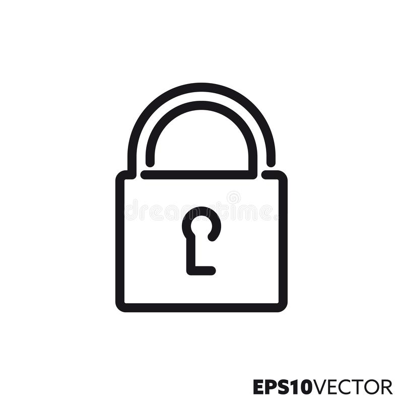 Línea cerrada icono del vector de la cerradura ilustración del vector