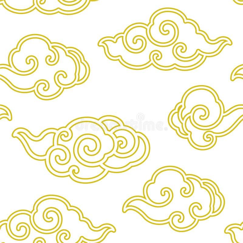 Línea china papel pintado inconsútil de la nube del vector stock de ilustración