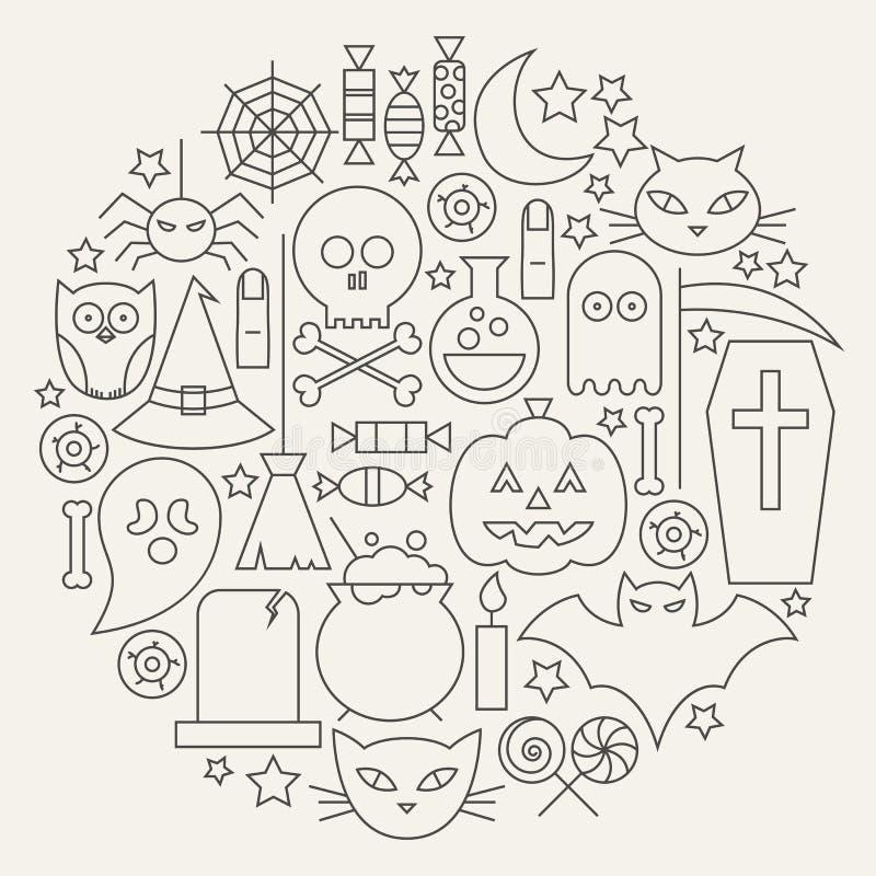Línea circular fijada iconos del día de fiesta de Halloween formada ilustración del vector