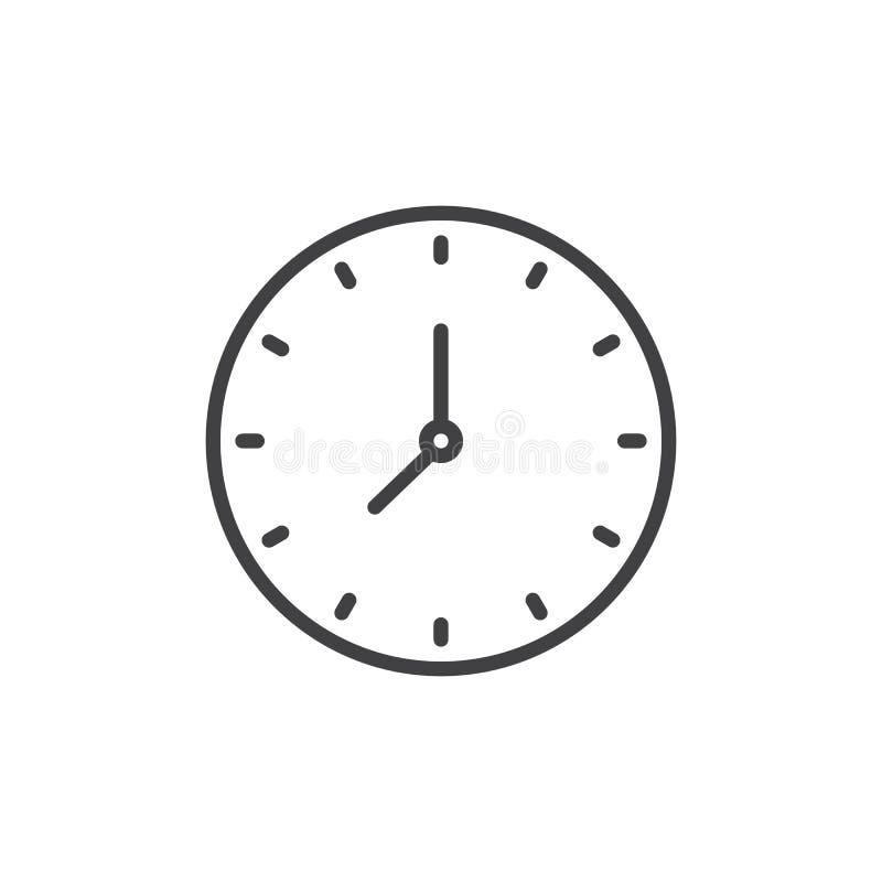 Línea circular icono del reloj de pared stock de ilustración