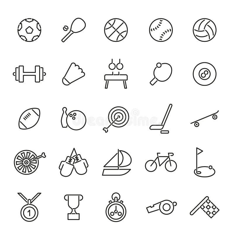 Línea colección de los deportes de los iconos stock de ilustración