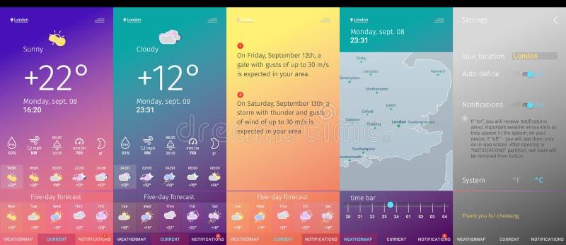 Línea colección de moda de las pantallas del app del tiempo del estilo del diseño moderno del arte ilustración del vector