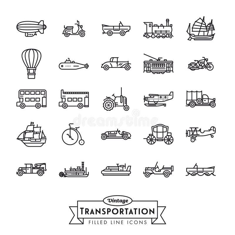 L?nea colecci?n del transporte del vintage de los iconos libre illustration