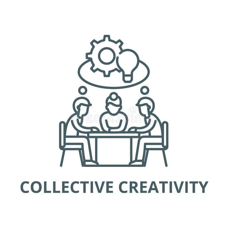 Línea colectiva icono, concepto linear, muestra del esquema, símbolo del vector de la creatividad ilustración del vector