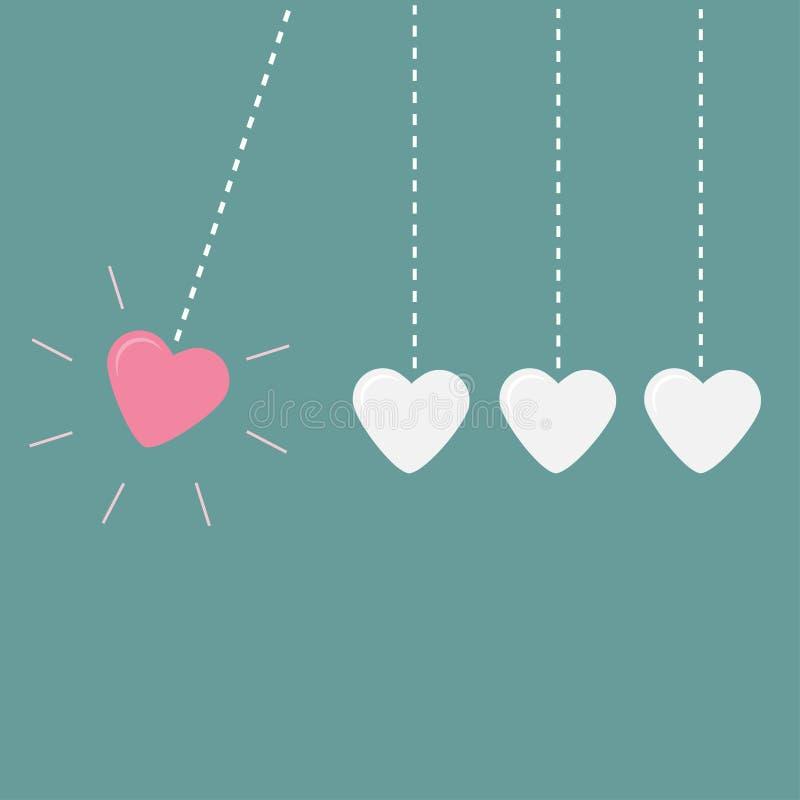 Línea colgante de la rociada de cuatro corazones Movimiento perpetuo Tarjeta del amor ilustración del vector