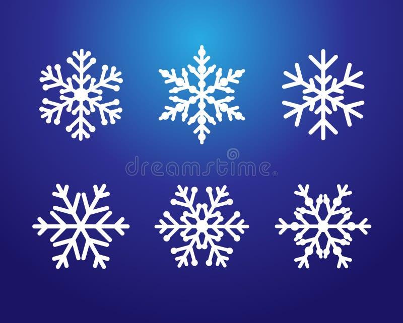 Línea color blanco determinado de los copos de nieve stock de ilustración