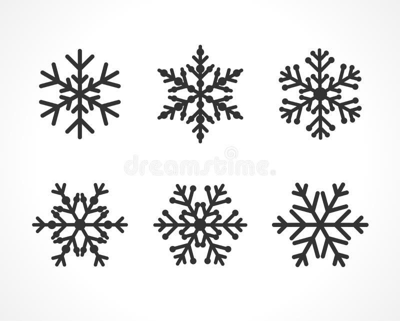 Línea color negro determinado del copo de nieve libre illustration