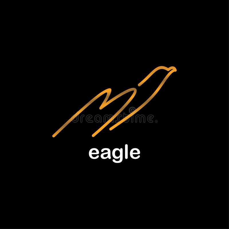 Línea color oro de Eagle del diseño del icono del arte en el fondo negro para la marca de la compañía stock de ilustración