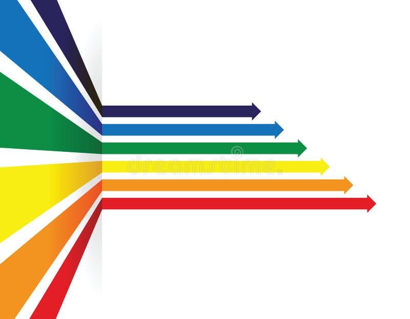 Línea coloreada arco iris fondo de la flecha de la perspectiva stock de ilustración