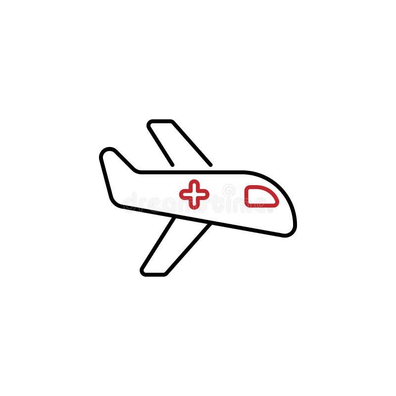 Línea coloreada icono de la ambulancia aérea 2 Ejemplo simple del elemento coloreado Diseño del icono de la ambulancia aérea del  libre illustration