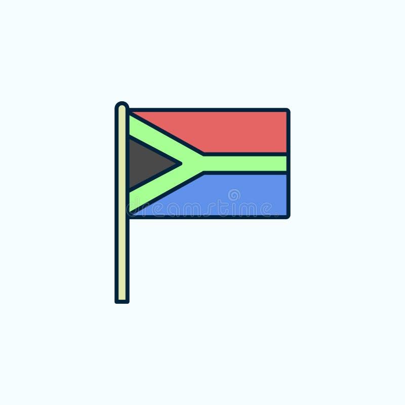 Línea coloreada icono de la bandera 2 de Suráfrica Ejemplo simple del elemento coloreado Diseño del símbolo del esquema de Suráfr libre illustration