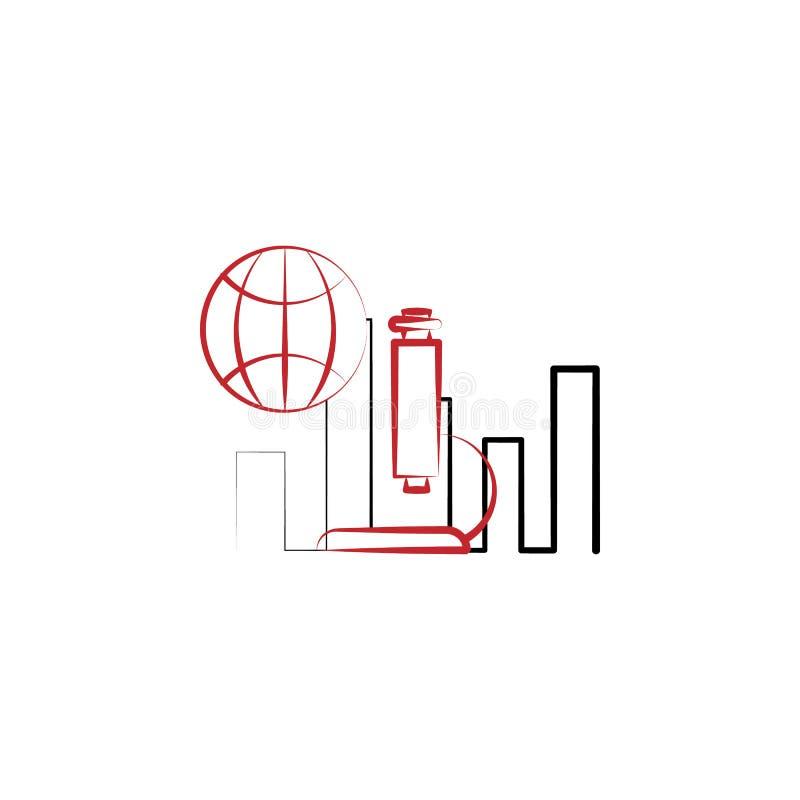 línea coloreada icono de la investigación 2 de la ciencia Ejemplo simple del elemento coloreado diseño del símbolo del esquema de ilustración del vector