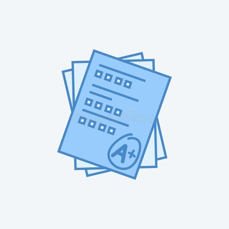 línea coloreada icono de la pluma 2 de la cuenta del examen Ejemplo oscuro y azul claro simple del elemento esquema del concepto  ilustración del vector