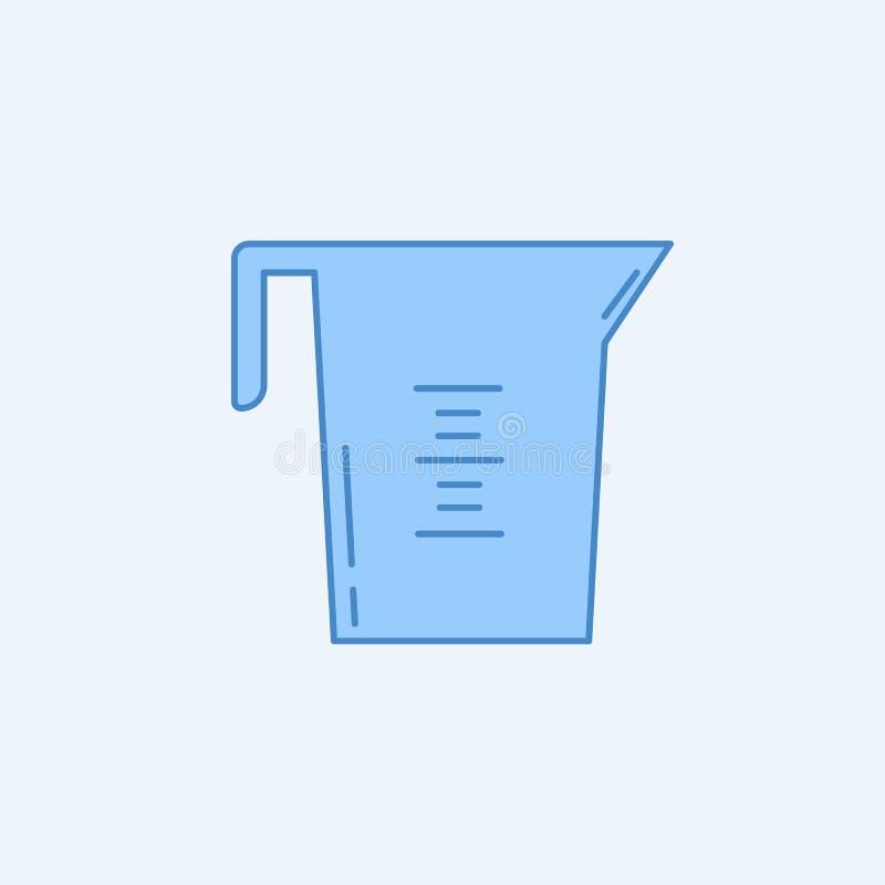 línea coloreada icono de la taza de medición 2 Ejemplo azul y blanco simple del elemento diseño del símbolo del esquema del conce stock de ilustración