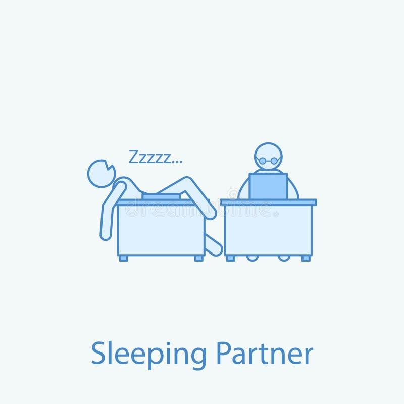 línea coloreada icono del colega 2 el dormir Ejemplo simple del elemento coloreado El diseño del símbolo del esquema del colega y libre illustration
