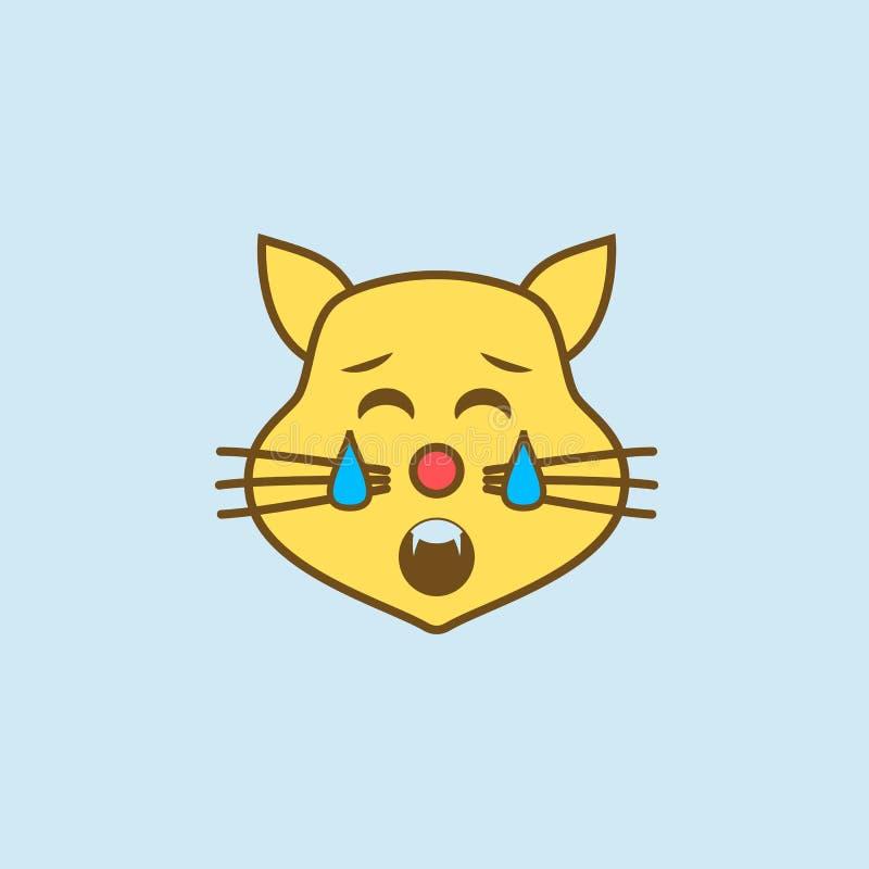 línea coloreada icono del gato 2 cansados Ejemplo amarillo y marrón simple del elemento diseño cansado del símbolo del esquema de libre illustration